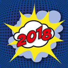 2018 - carte de vœux - graphique - artistique - moderne - BD - énergie - dynamique - design - art