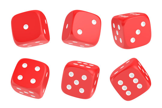 3d rendering of a set of six red dice with white dots hanging in half turn showing different numbers.