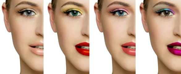 set, collage, different types of make-up and on one female face. Make-up for green, brown, blue, gray eyes