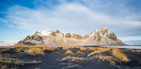 Vestrahorn mountains with a blue sky with clouds, Iceland