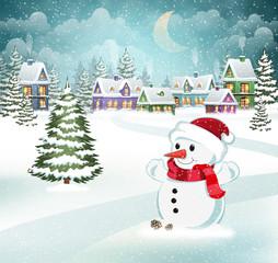 Winter scene with snowman