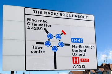 """""""The Magic Roundabout"""" in Swindon - a series of 5 small roundabouts making up a larger one. Voted the scariest UK road junction."""