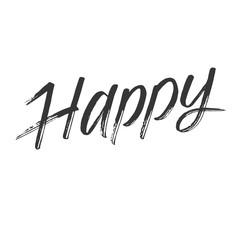 Happy - hand drawn word. Design element.