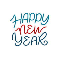 Happy new year lettering. Abstract monoline greeting lettering isolated on white background.