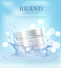 Brand Name Poster with Closeup of Day Pearl Cream