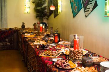 table set for a festive dinner in a restaurant