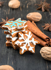 Christmas gingerbread snowflakes