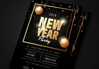 New Year's Eve Flyer with Black and Gold Accents