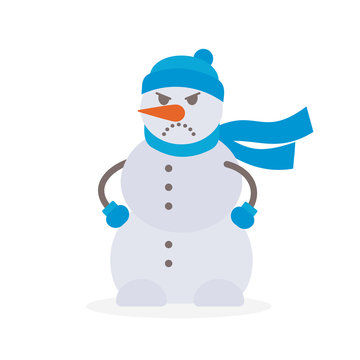 Angry snowman vector illustration on white background