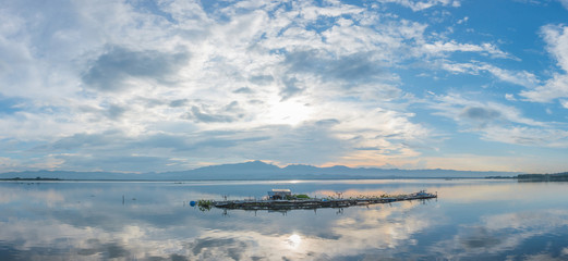 Evening panoramic landscape of Kwan Phayao Public Park. (Phayao lake), Kwan Phayao is popular natural attraction landmark in Phayao ,Thailand.