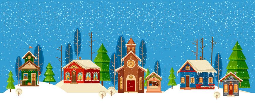 Urban winter landscape. Christmas Happy Holidays