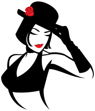 Vector illustration of a stylized portrait of a dancer show. Logo for a nightclub or strip show.