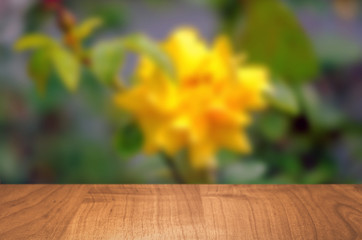 Empty wooden table with garden bokeh for a catering or food background