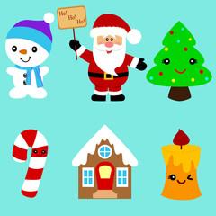 Christmas icons. Collection. Santa.
