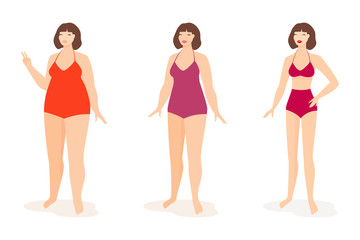 Fat and slim woman. Vector.