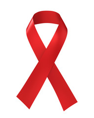 AIDS Awareness Red Ribbon Isolated