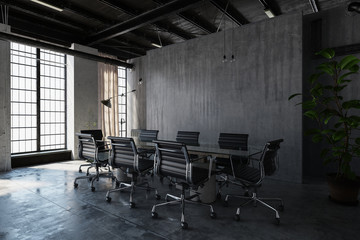 contemporary concrete office meeting room