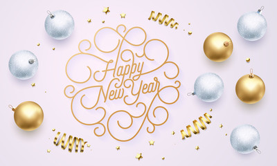 Happy New Year font text flourish golden calligraphy lettering of swash gold typography for Xmas greeting card design. Vector golden decoration and Christmas confetti on holiday black background