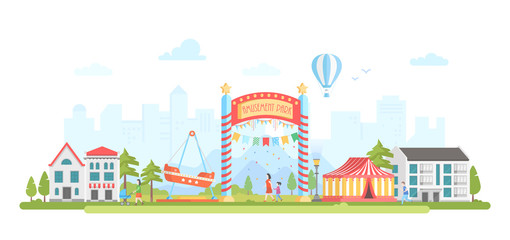 Amusement park - modern flat design style vector illustration