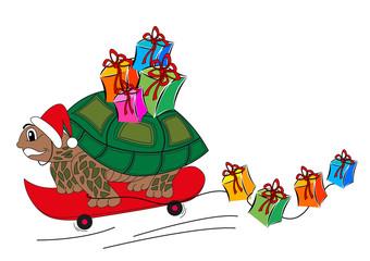 Buon Natale Tartaruga con doni