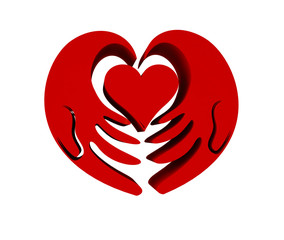 Charity hand with loving heart symbol 3d