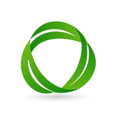 Recycle symbol, organic leafs
