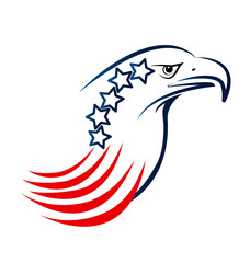 USA eagle with blue stars and red stripes symbol