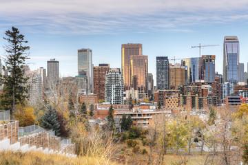Calgary, Alberta skyline with fall foliage