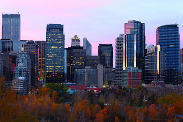 Twilight view of Calgary, Alberta skyline