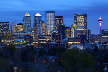 Night view of Calgary, Canada city center