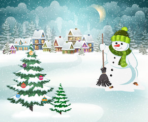 Winter village with snowman and christmas tree