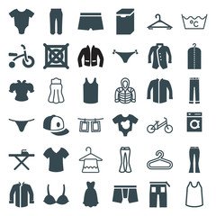 Set of 36 clothes filled and outline icons