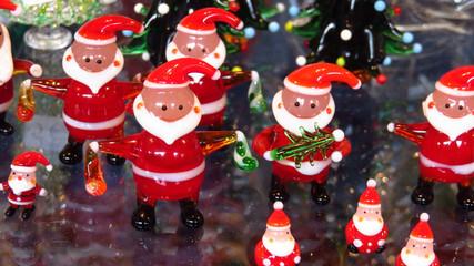 Glass Santa Claus Figures