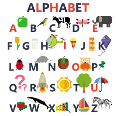 alphabet on the white background caption