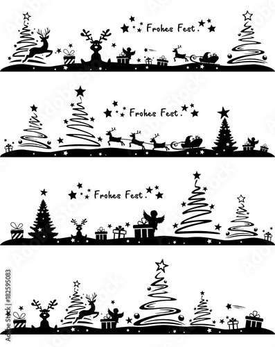Christmas Silhouette.Christmas Silhouette Stock Image And Royalty Free Vector
