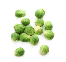 Fresh Brussels sprouts isolated on white