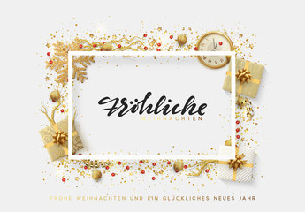 German text Frohliche Weihnachten. Christmas bright background with golden Xmas decorations. Merry christmas and Happy New Year greeting card. Elegant Holiday Frame