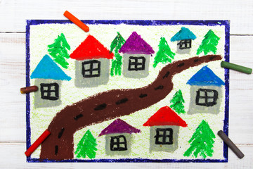 Colorful drawing : village and road