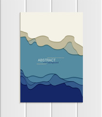 Vector brochure A5 or A4 format abstract uneven blue shapes design element corporate style