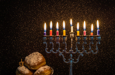 Image of the Hanukkah Jewish holiday with a menorah