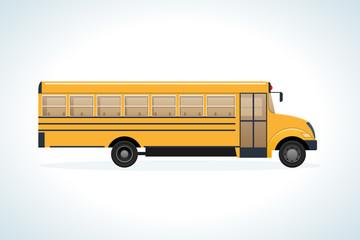 Modern transport machine, side view. Children on school bus.