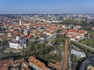 Aerial view over Vilnius old town panorama, Lithuania. During early sunny spring time.