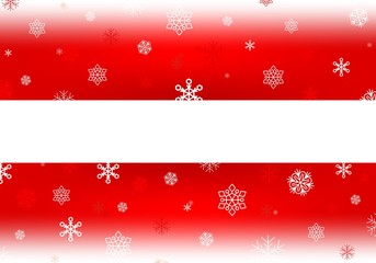 Red Christmas background with white falling snowflakes and luminous wheels white stripe with shadow in the middle. Winter backdrop with snowfall. Red backdrop with white area