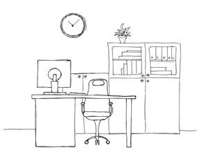 DrukowanieOffice in a sketch style. Hand drawn office furniture. Vector illustration.