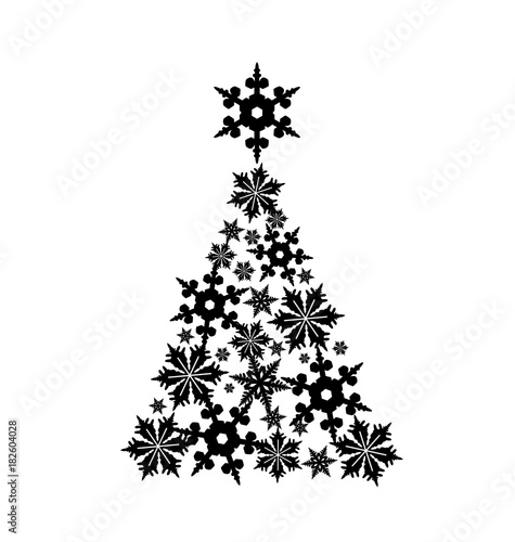 Snowflakes In The Shape Of A Christmas Tree Vector Illustration