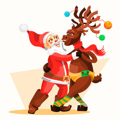 Dancing Santa Claus with Christmas Reindeer. Funny and cute Merry Christmas characters. Tango dancers - Santa with deer. Cartoon, adorable characters