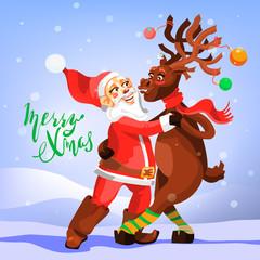 Dancing Santa Claus with Christmas Reindeer. Funny and cute Merry Christmas greeting card. Tango dancers - Santa with deer. Cartoon, adorable characters