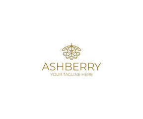 Ashberry Logo Template. Rowanberry Line Elegant Vector Design. Berry Illustration