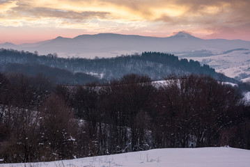 leafless forested hills at winter dawn. beautiful mountain ridge with high snowy peak in the distance. Carpathian area near Pikui mountain