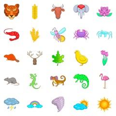 Manifold icons set, cartoon style